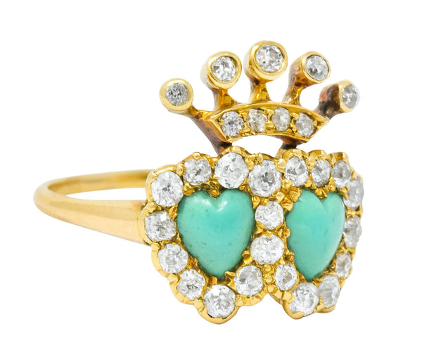 Edwardian Old European Diamond Turquoise 18 Karat Gold Double Heart Cluster Ring Ring diamond diamonds Edwardian Most Wanted old european