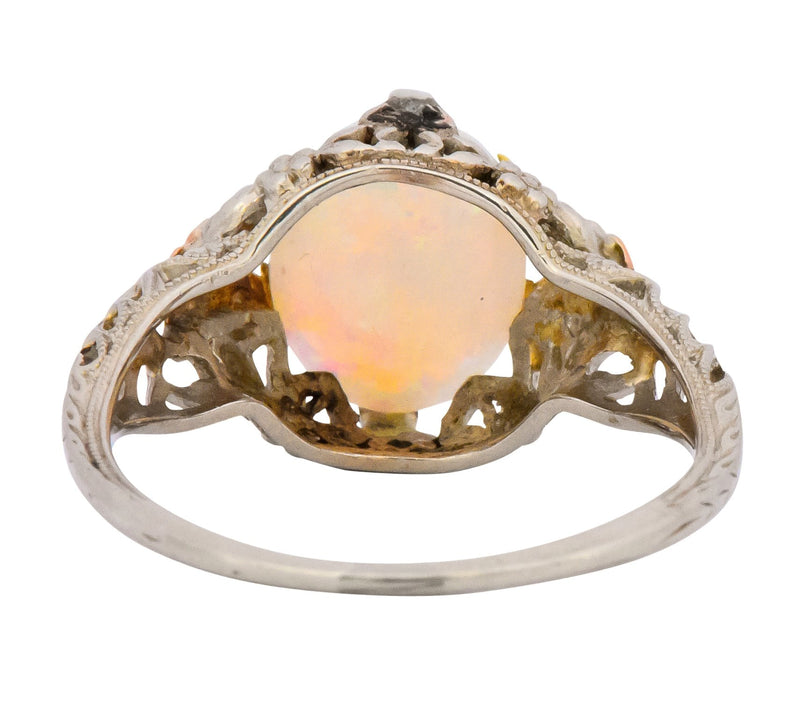 Edwardian Oval Cabochon Opal 14 Karat Tri-Colored Gold Ring - Wilson's Estate Jewelry
