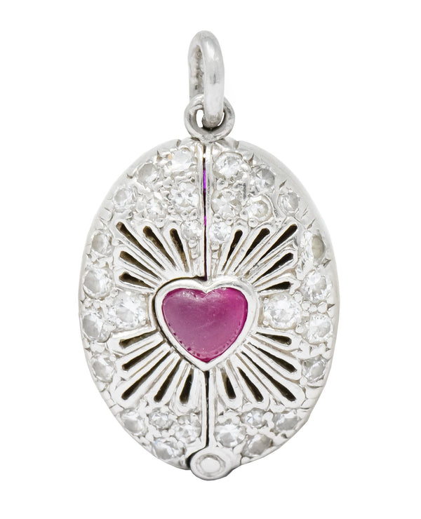 Edwardian Ruby Diamond Platinum Sacred Heart Cross Articulated Charm - Wilson's Estate Jewelry