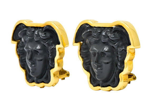 Elizabeth Locke Onyx 18 Karat Gold Medusa Earrings Earrings Contemporary Onyx signed