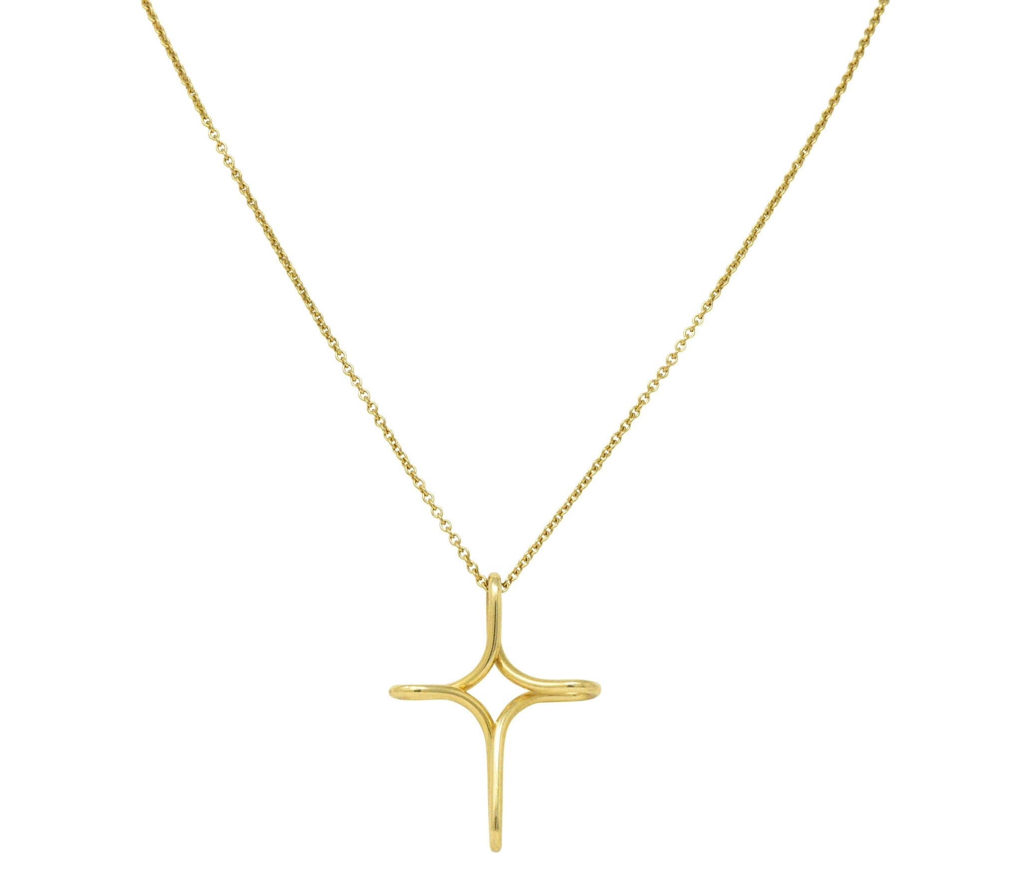 545ebf70a Elsa Peretti Tiffany & Co. 18 Karat Gold Infinity Cross Pendant Necklace  Necklace ...
