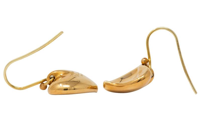 Elsa Peretti Tiffany & Co. Vintage 18 Karat Gold Heart Drop Earrings - Wilson's Estate Jewelry