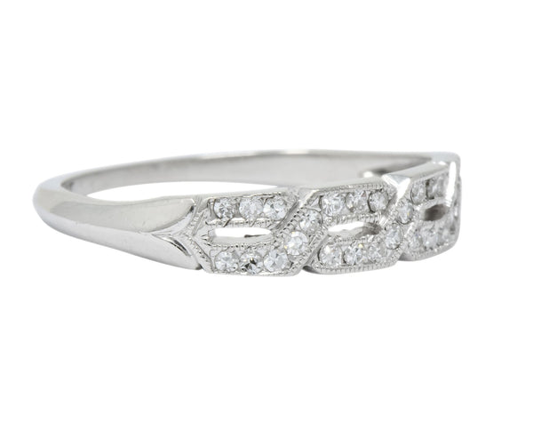 Enchanting Edwardian Diamond Platinum Trellis Band Ring - Wilson's Estate Jewelry