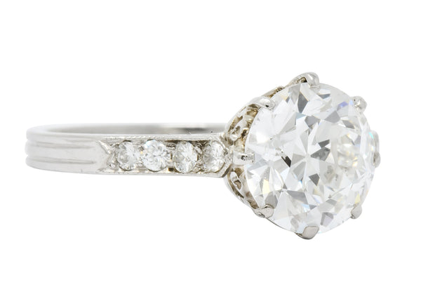 Enticing Edwardian 2.68 CTW Diamond Platinum Engagement Ring GIA Ring