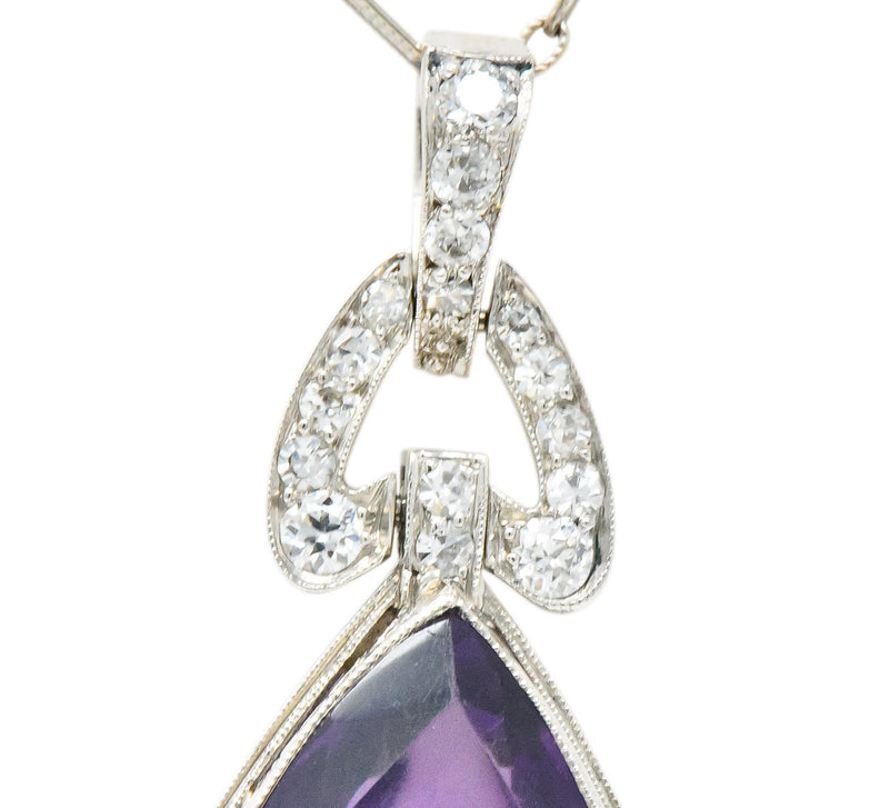 Enticing Edwardian Diamond Carved Amethyst Cameo Platinum Pendant Necklace Necklace Edwardian out-of-stock