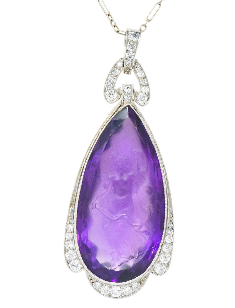 Enticing Edwardian Diamond Carved Amethyst Cameo Platinum Pendant Necklace Necklace