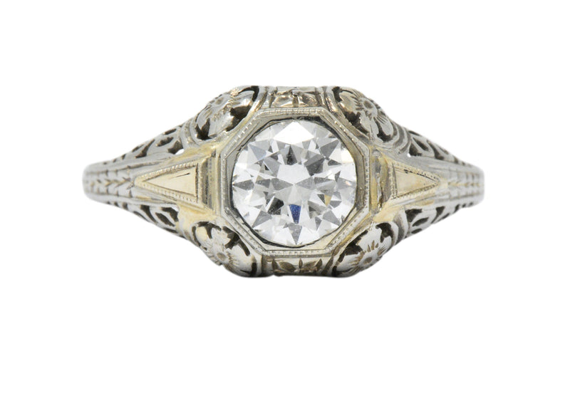 Exemplary Art Deco 0.70 Ctw Diamond 18K White Gold Floral Filigree Engagement Ring Ring