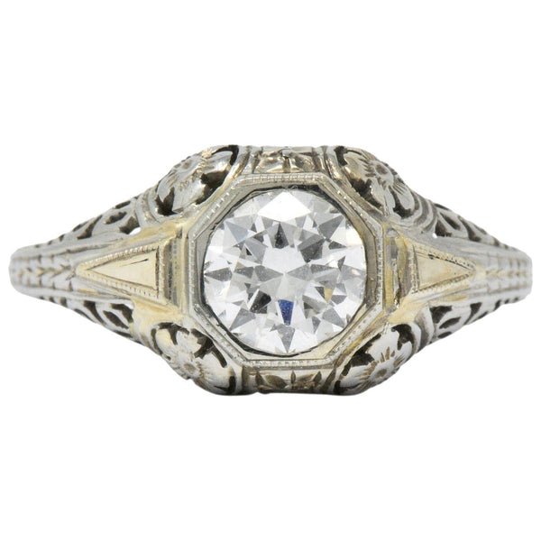 Exemplary Art Deco 0.70 CTW Diamond 18K White Gold Floral Filigree Engagement Ring - Wilson's Estate Jewelry