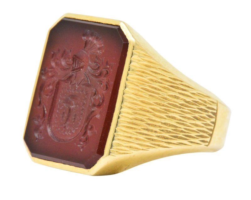 Exemplary Victorian Intaglio Carnelian 18 Karat Gold Men's Signet Ring - Wilson's Estate Jewelry