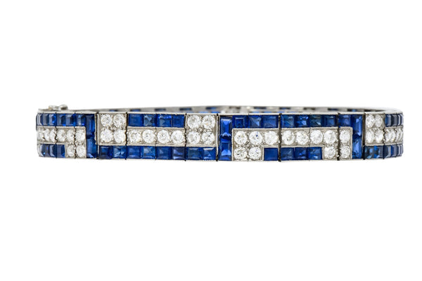 Exquisite Art Deco French 16.95 CTW Diamond Sapphire Platinum Line Bracelet bracelet