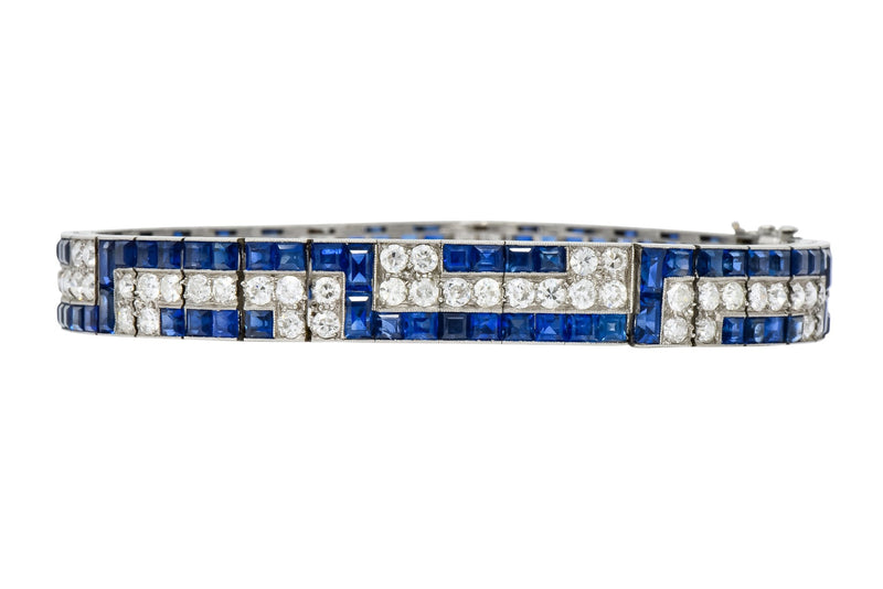 Exquisite Art Deco French 16.95 CTW Diamond Sapphire Platinum Line Bracelet - Wilson's Estate Jewelry