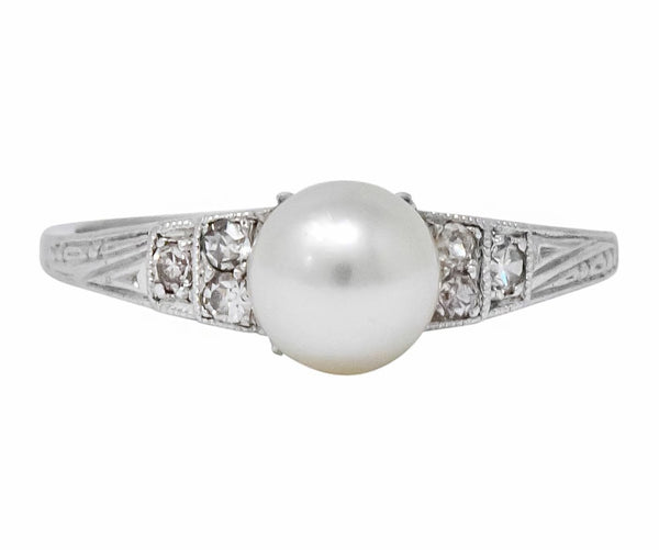 Exquisite Art Deco Natural Pearl Diamond Platinum Fashion Ring Ring