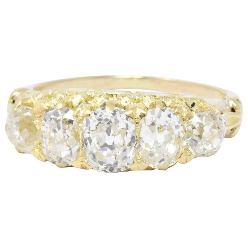 Exquisite Victorian 3.55 CTW Old Mine Diamond 14 Karat Gold Band Ring - Wilson's Estate Jewelry