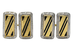 Fancy Edwardian Enamel Platinum 14 Karat Gold Cufflinks - Wilson's Estate Jewelry