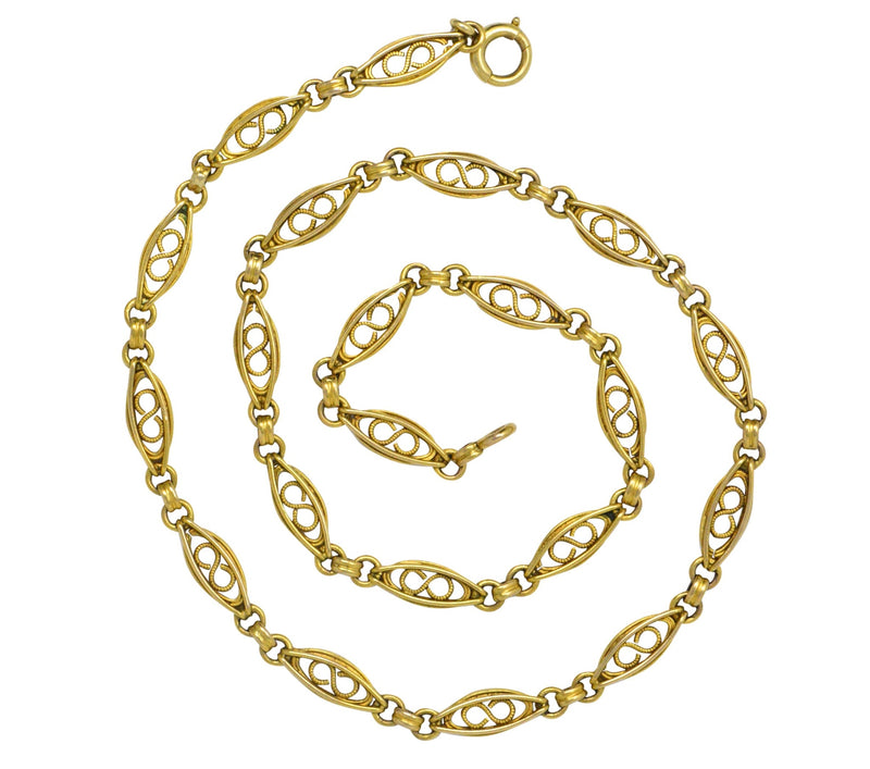 Fancy Victorian 18 Karat Gold Chain Necklace Necklace