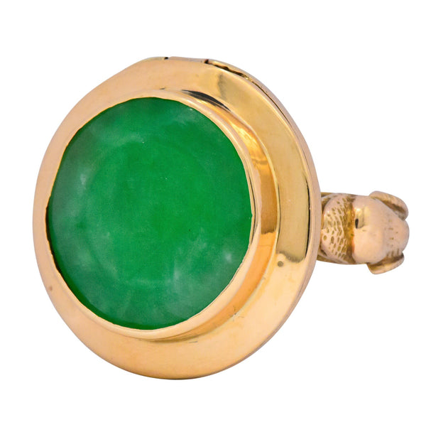 Fascinating Victorian Carved Jade 14 Karat Gold Poison Locket Ring Ring out-of-stock Victorian
