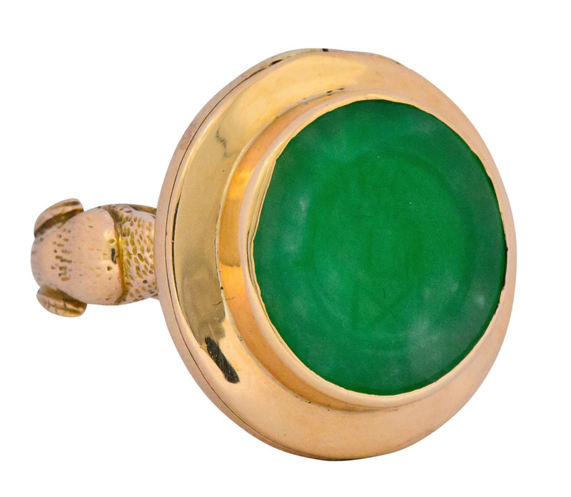 Fascinating Victorian Carved Jade 14 Karat Gold Poison Locket Ring Ring