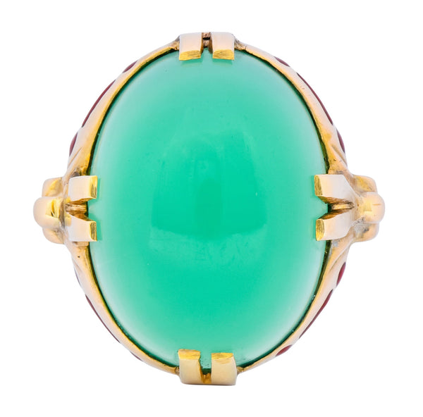 Felger Inc. Art Deco Egyptian Revival Enamel Chrysoprase Ring Ring