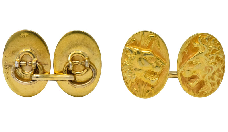 Fine Art Nouveau 14 Karat Gold Lion & Lioness Cufflinks - Wilson's Estate Jewelry