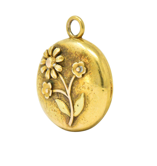 Floral Art Nouveau 14 Karat Tri-Color Gold Flower Locket Necklace Art Nouveau out-of-stock