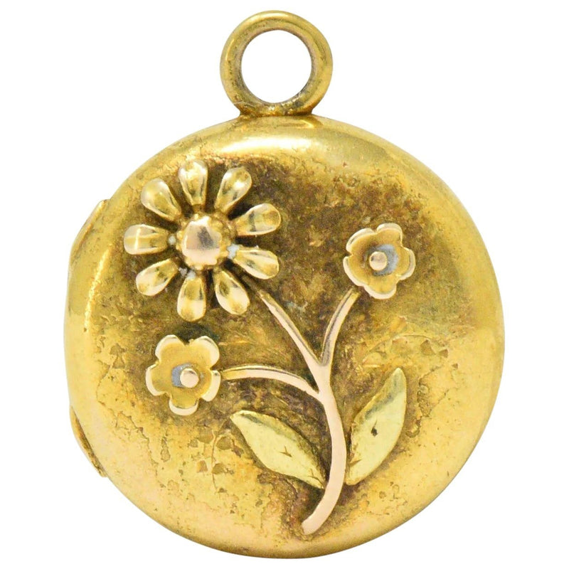 Floral Art Nouveau 14 Karat Tri-Color Gold Flower Locket Necklace