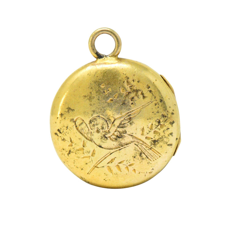 Floral Art Nouveau 14 Karat Tri-Color Gold Flower Locket - Wilson's Estate Jewelry