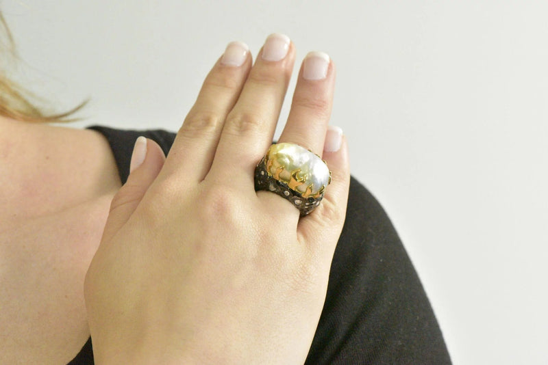 Fred Leighton 1.45 CTW Diamond Baroque Cultured Pearl Sterling Silver 18 Karat Gold Ring Ring Contemporary Diamond out-of-stock Pearl signed