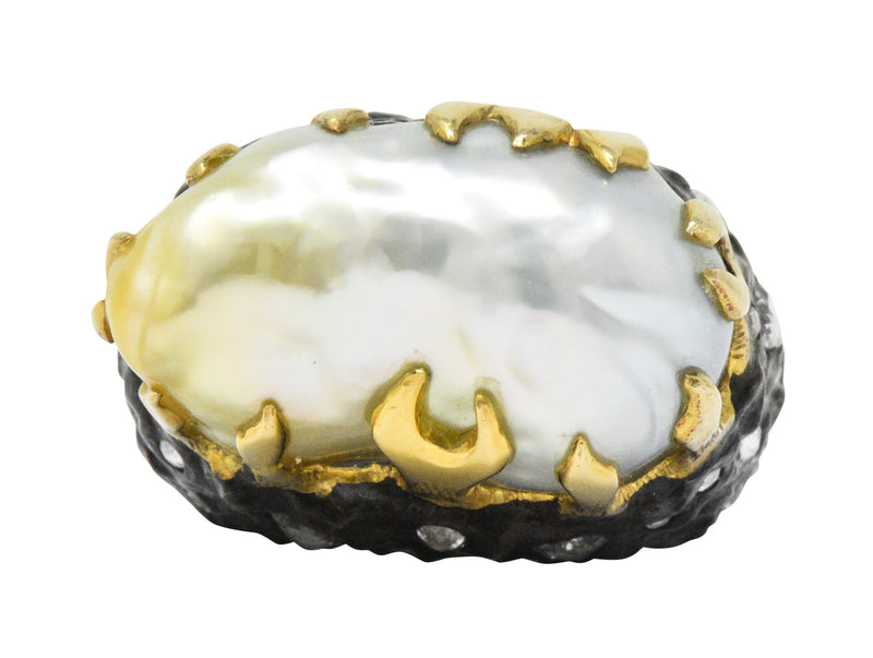 Fred Leighton 1.45 CTW Diamond Baroque Cultured Pearl Sterling Silver 18 Karat Gold Ring - Wilson's Estate Jewelry