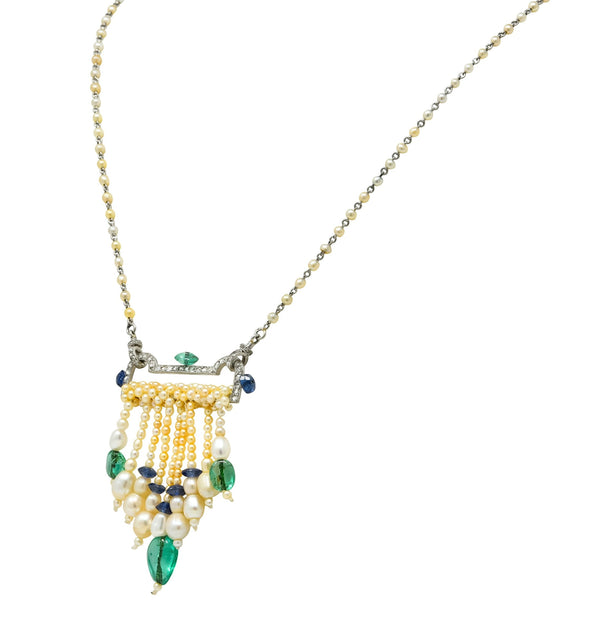 French Art Deco Diamond Natural Pearl Emerald Sapphire Platinum Sautoir Necklace Necklace Art Deco diamond diamonds Emerald French