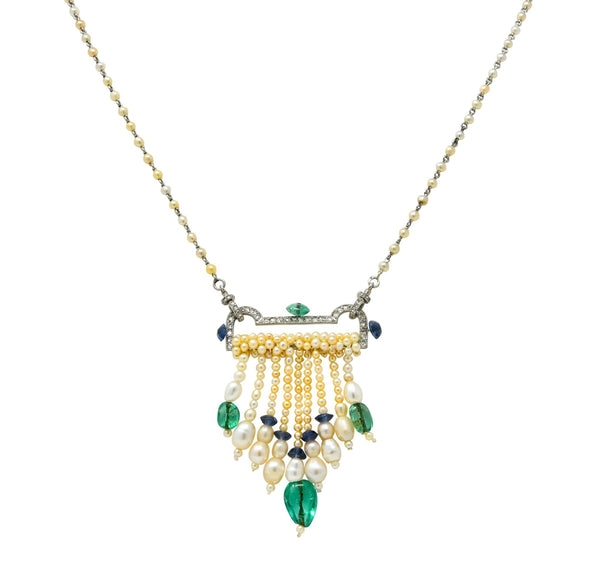 French Art Deco Diamond Natural Pearl Emerald Sapphire Platinum Sautoir Necklace - Wilson's Estate Jewelry