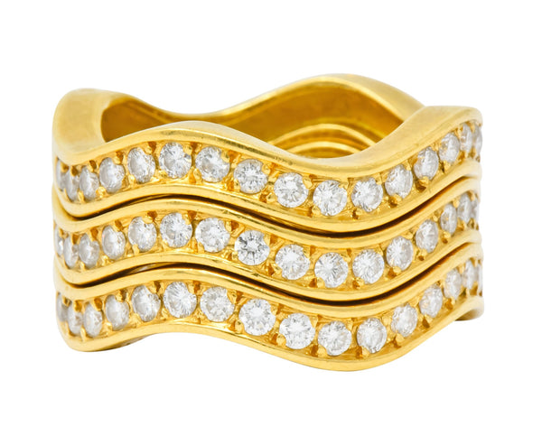 French Cartier 1.56 CTW Diamond 18 Karat Gold Wave Triple Band Stack Rings Ring