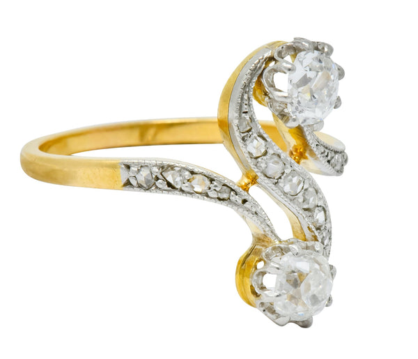 French Edwardian 0.90 CTW Diamond Platinum-Topped 18 Karat Gold Bypass Ring Circa 1915 Ring diamond Edwardian french old mine cut rose cut