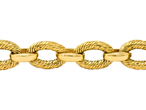 French Tiffany & Co. 18 Karat Yellow Gold Textured Link Bracelet bracelet