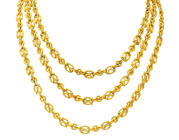 French Victorian 18 Karat Gold 53 Inch Long Chain Necklace Necklace
