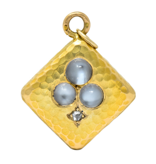 French Victorian Moonstone Diamond 18 Karat Gold Spade Pendant Charm Necklace