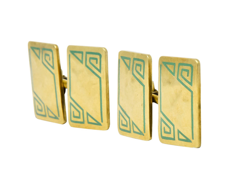 Geoffroy & Co. Art Deco Enamel 14 Karat Gold Men's Cufflinks - Wilson's Estate Jewelry
