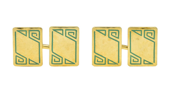 Geoffroy & Co. Art Deco Enamel 14 Karat Gold Mens Cufflinks Cufflinks