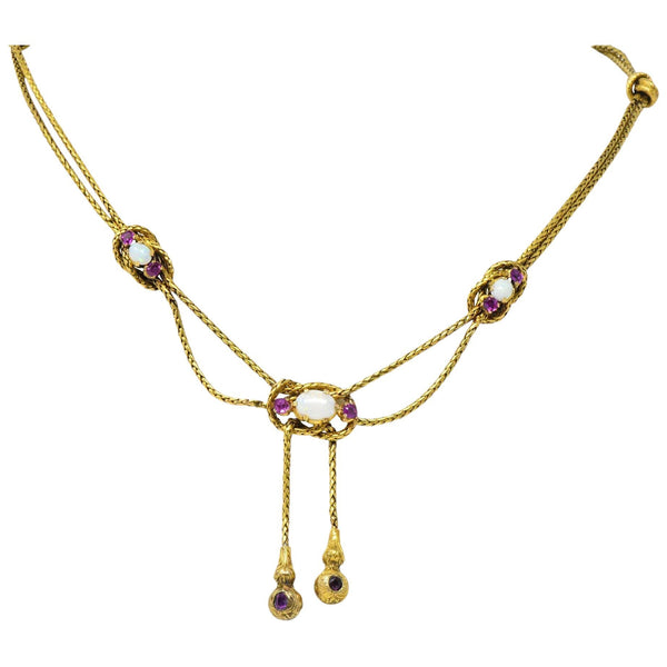 Georgian 1.20 CTW Pink Sapphire Opal 18 Karat Gold Negligee Rope Necklace - Wilson's Estate Jewelry