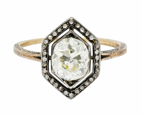Georgian 2.00 CTW Diamond Silver-Topped 14 Karat Gold Engagement Ring Circa 1800s Ring diamonds engagement Georgian Most Wanted old mine cut
