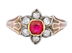 Georgian Diamond Ruby Silver 14 Karat Gold Cluster Ring Circa 1870 Ring Diamond Georgian Most Wanted old mine Ruby