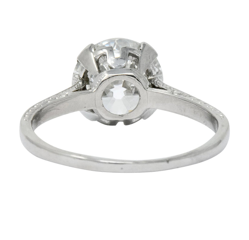Gillot & Co. 3.21 CTW Old European Diamond Platinum Engagement Ring GIA Ring