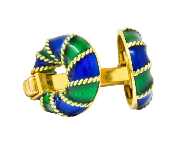 Green Blue Enamel 18 Karat Yellow Gold Mens Cufflink Cufflinks