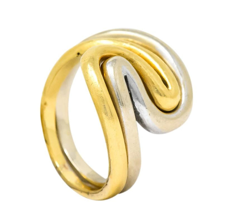 Gucci Vintage 18 Karat Two-Tone Gold Wave Stacking Rings - Wilson's Estate Jewelry