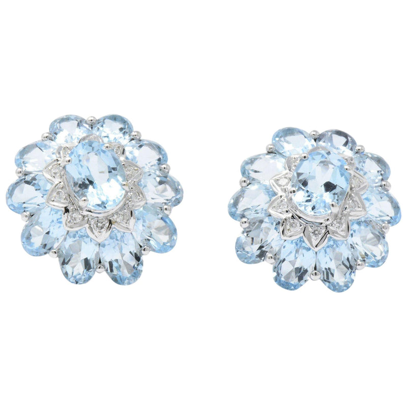 Gumps Contemporary Blue Topaz Diamond 18 Karat White Gold Earrings Earrings