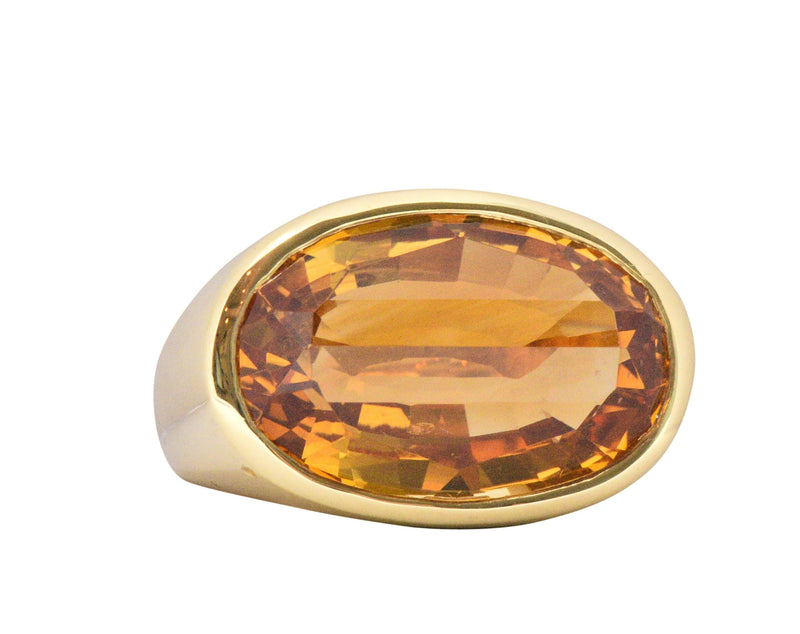 H. Stern Citrine And 18 Karat Large Gold Cocktail Ring Ring