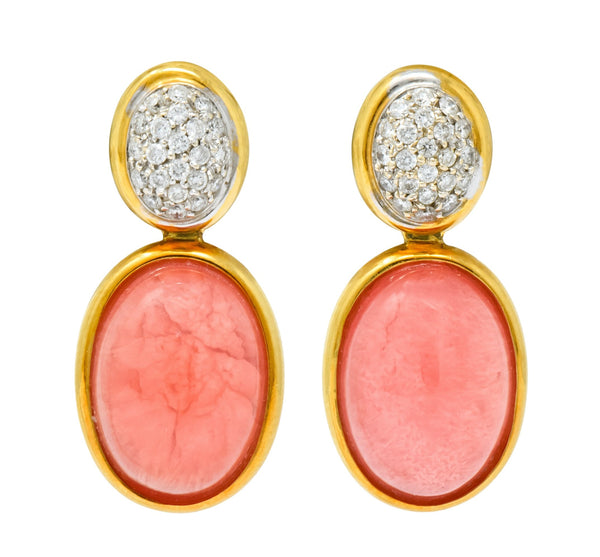 H. Stern Diamond Rhodochrosite 18 Karat Gold Drop Vintage Earrings - Wilson's Estate Jewelry