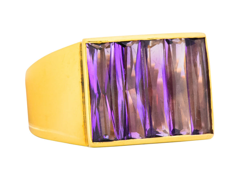 H. Stern Modernist 5.00 Ctw 18 Karat Yellow Gold Amethyst Ring Ring