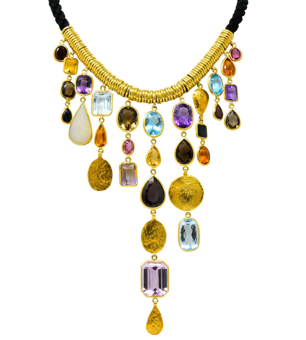 H. Stern Vintage 1970's Multi-Gem 18 Karat Gold Cord Drop Necklace - Wilson's Estate Jewelry