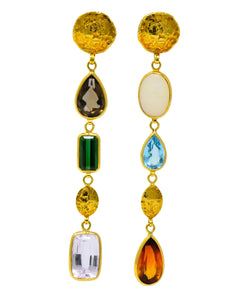 H. Stern Vintage Multi-Gem 18 Karat Gold Asymmetrical Drop Earrings - Wilson's Estate Jewelry