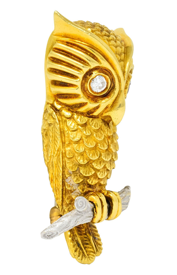 Hammerman Bros. French Diamond Platinum 18 Karat Gold Owl Vintage Brooch - Wilson's Estate Jewelry